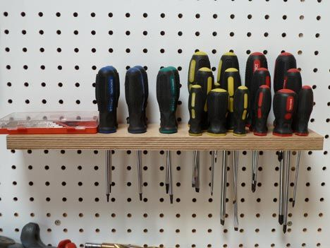 Quick Tip Homemade Pegboard Screwdriver Holder Iron