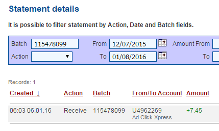 Here is my Withdrawal Proof from AdClickXpress. I get paid daily and I can withdraw daily. Online income is possible with ACX, who is definitely paying - no scam here.I WORK FROM HOME less than 10 minutes and I manage to cover my LOW SALARY INCOME. If you are a PASSIVE INCOME SEEKER, then AdClickXpress (Ad Click Xpress) is the best ONLINE OPPORTUNITY for you!! http://www.adclickxpress.is/?r=gf63448qbant&p=ajgbm