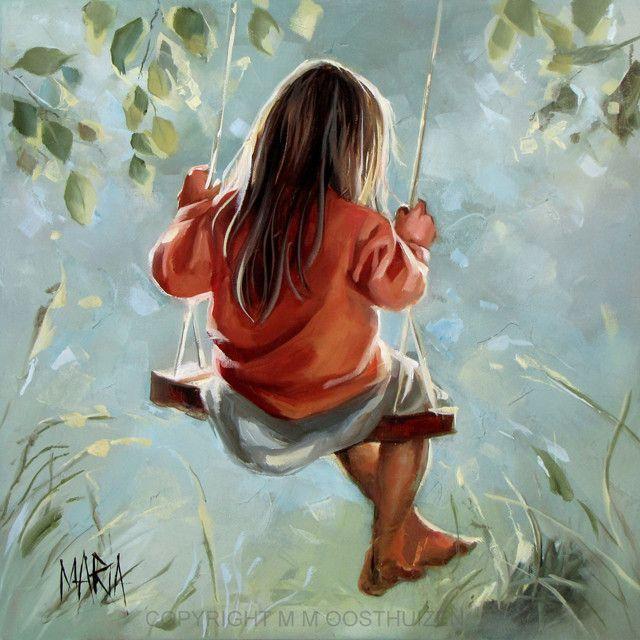 Little girl in a tree swing painting. M15060 - Samesyn ...