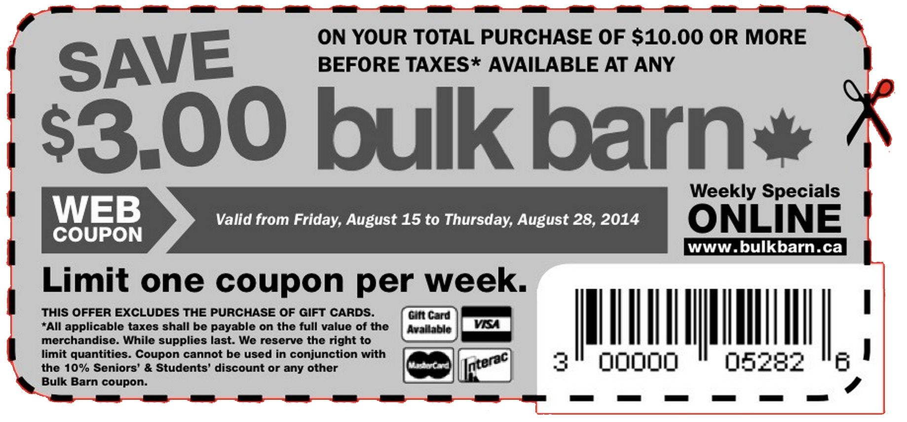 Bulk Barn Printable Coupon: $3 Off Your Purchase of $10 Or