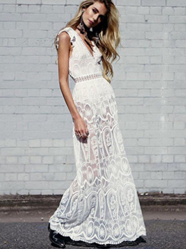 Lace dress maxi  White Plunge Sheer Lace Frill Open Back Sleeveless Maxi Dress  Maxi