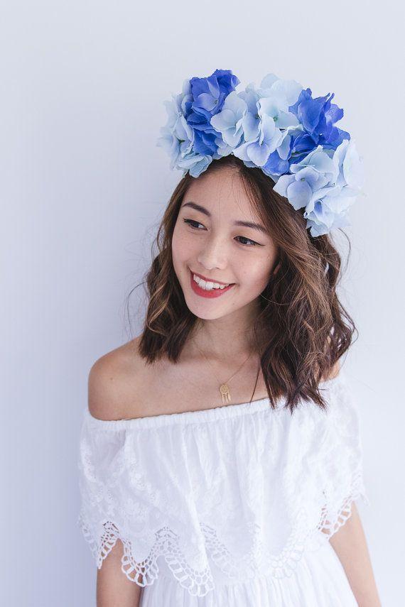 Blue flower crown fascinator    statement floral headpiece headband ... 313dd9f175c