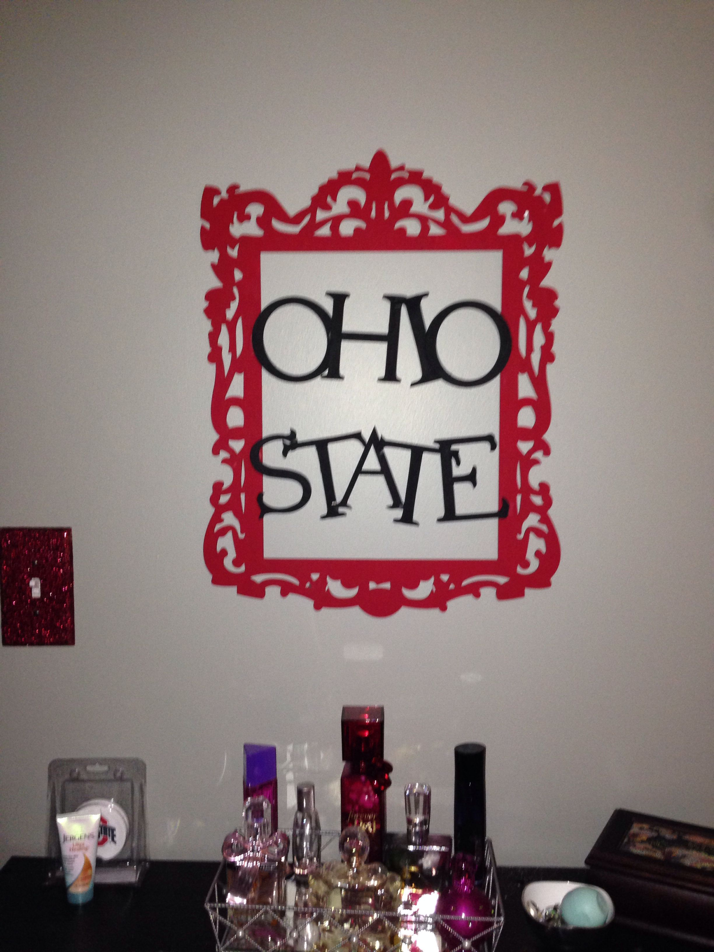 So I made this today... I'm turning my room into a Buckeye Room. I just love how it turned out. I got all the supplies from Michaels.