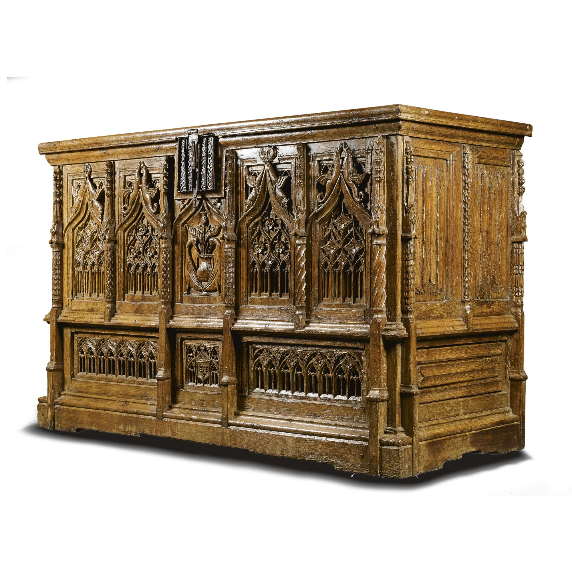 An important large French Gothic carved oak chest, probably Normandy ...