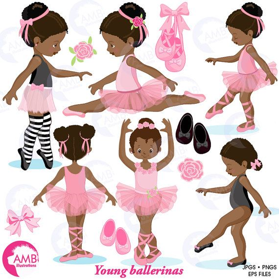 518bad9f7 COMBO Little Pink Ballerinas Clipart and Digital Papers Pack