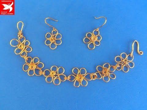 160d23e63190 Como hacer pulsera de flores de alambre de aluminio - YouTube ...