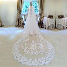 HS478 Blanc ivoire Vintage Pas Cher Tulle Mariée Cathédrale Longue De Mariée dentelle De Mariage Voiles 3 Mètres velos de novia voile mariage 2016(China (Mainland))