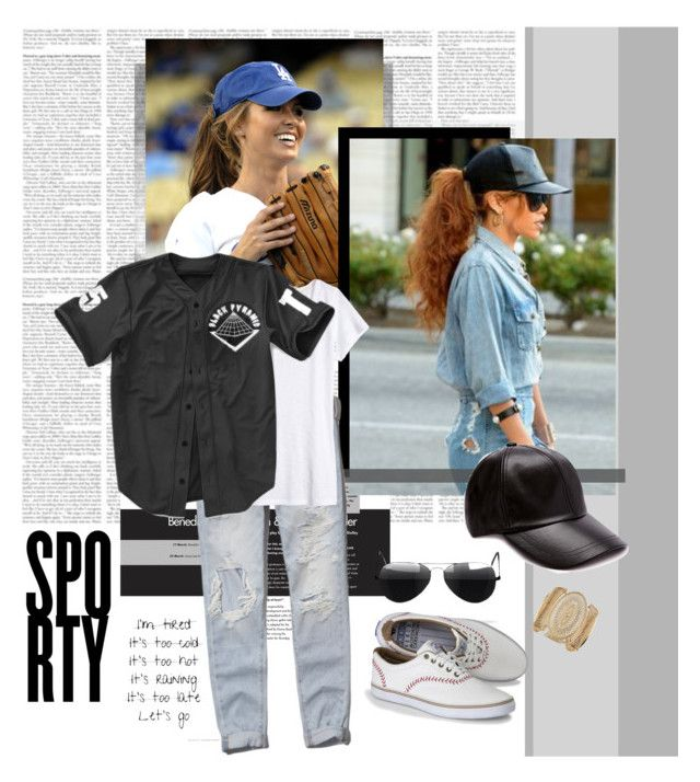 """""""Baseball Style"""" by bjigg ❤ liked on Polyvore featuring Ray-Ban, Forever 21, Lydell NYC, Abercrombie & Fitch and H&M"""