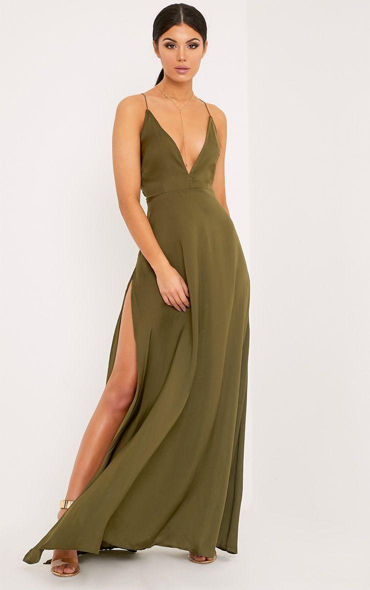 Beccie Khaki Extreme Split Strappy Back Maxi Dress Chic Maxi Dresses Maxi Dress Cute Dresses