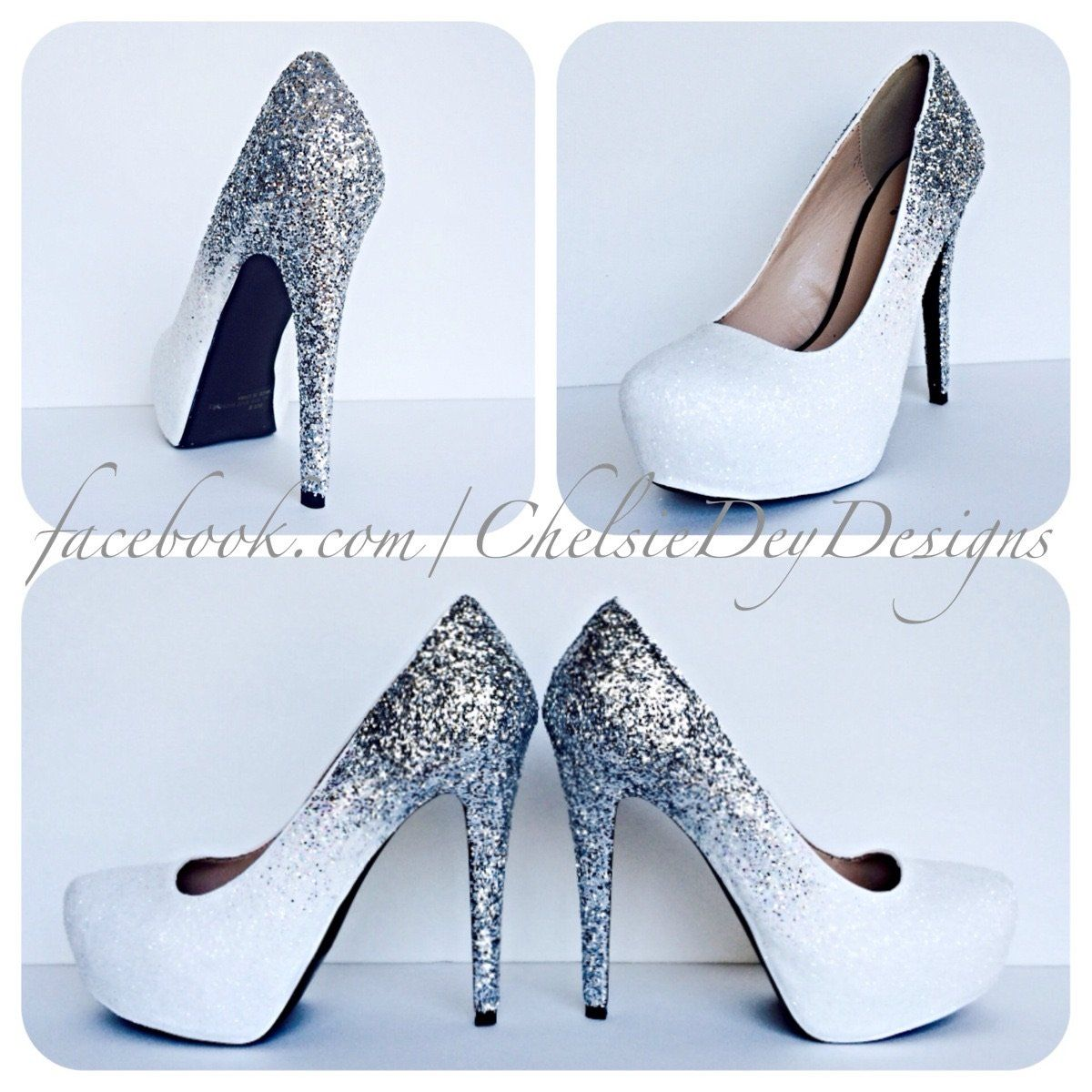 7a4b713ed008 Ombre Glitter High Heels, Angel White Silver Wedding Shoes ...