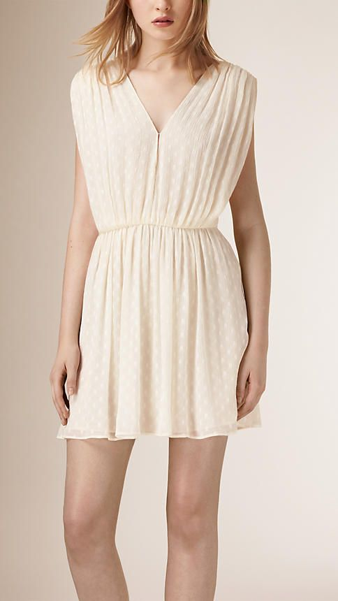 Burberry Parchment Polka Dot Silk Chiffon Dress - A polka dot dress in crinkled silk chiffon. With a ruched detail at the shoulder and waist, the design closes with a concealed side zip.