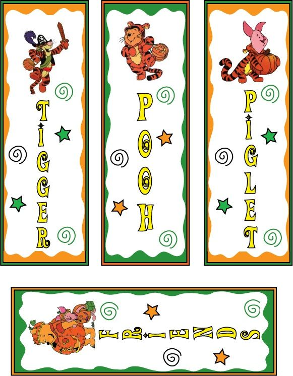 Pooh And Tiger Halloween Bookmarks Printable | bookmarks and ...