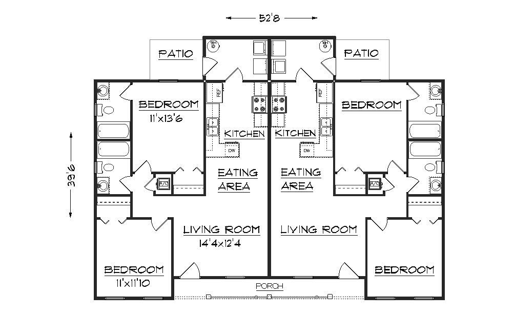 Simple small house floor plans duplex plan j891d floor for Ranch style duplex plans
