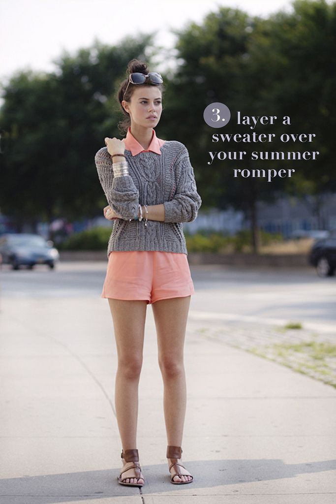 brown sandals + pink romper + gray sweater