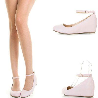 fcbef6618ca Lavender Ankle Strap Hidden Med Low Wedge Heel Womens Ballet Flat Ballerina  Pump