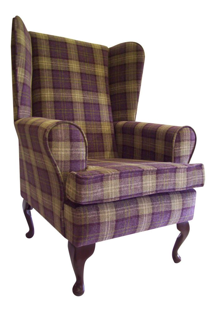 FIRESIDE WING BACK QUEEN ANNE CHAIR AUBERGINE LANA TARTAN CHECK in Home   Furniture. FIRESIDE WING BACK QUEEN ANNE CHAIR AUBERGINE LANA TARTAN CHECK in