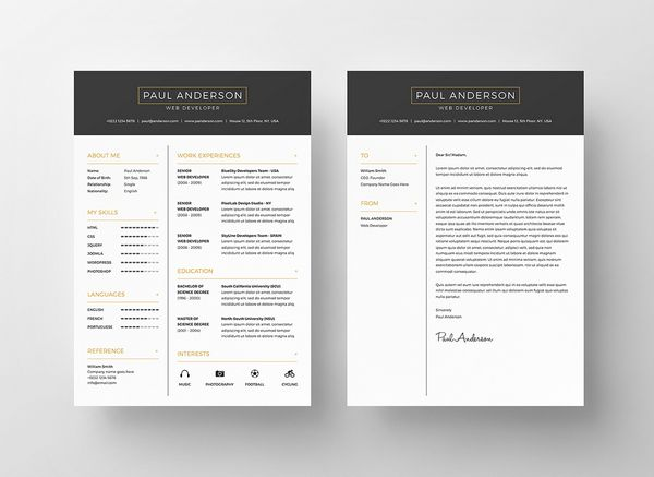 Free Psd Resume Template  Resumes    Template