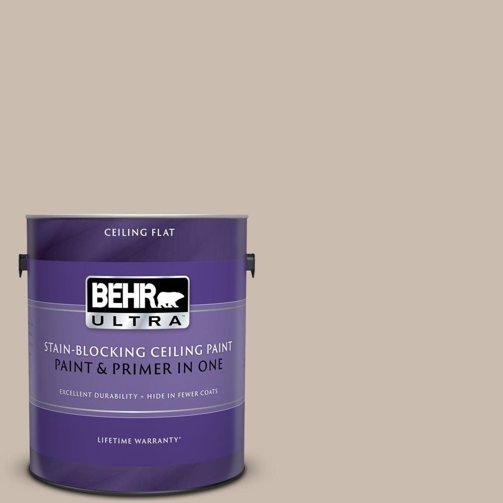 Behr Ultra 1 Gal No Ul130 15 Ceiling Tinted To Creamy Mushroom Flat Interior Paint And Primer In One Interior Paint Best Ceiling Paint Paint Primer