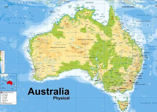 Geographical Map Of Australia.A Map Of Australia Showing Physical Features A Fantastic Resource