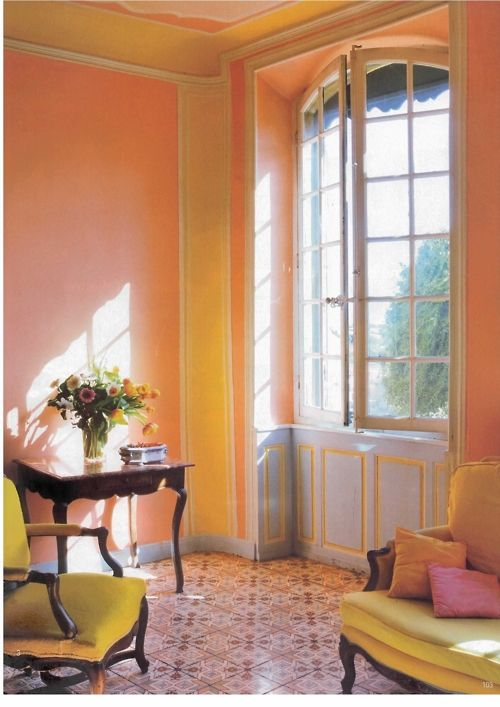 Tangerine Living Room Decor: French And Tangerine And Blue