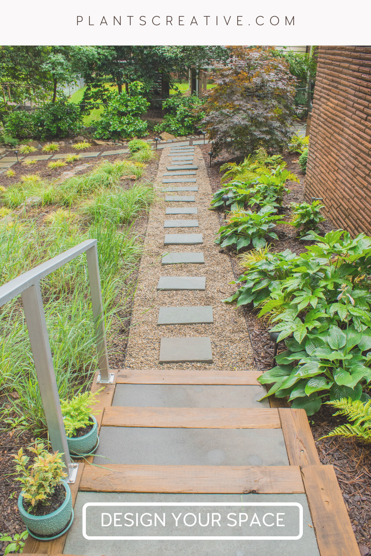 Concrete Stepping Stones The wood accents in the concrete stairs, paired with the stepping stones surrounded by gorgeous plantings bring this design full-circle. Click the link to start designing your space today.