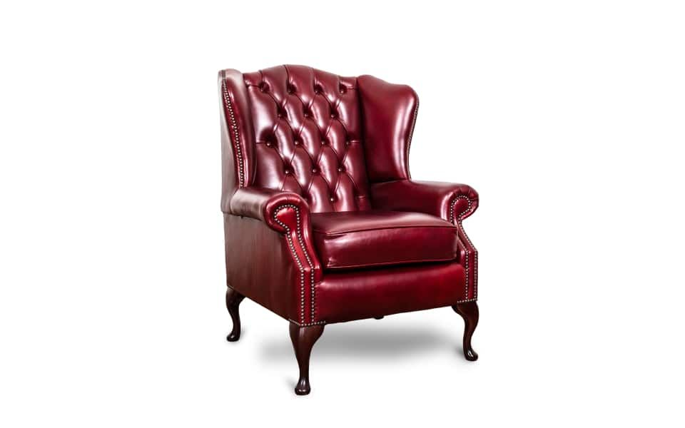 Antiques Antique Furniture 1 Traditional Handmade Chesterfield Style Leather Wingback Armchair Oxblood Red