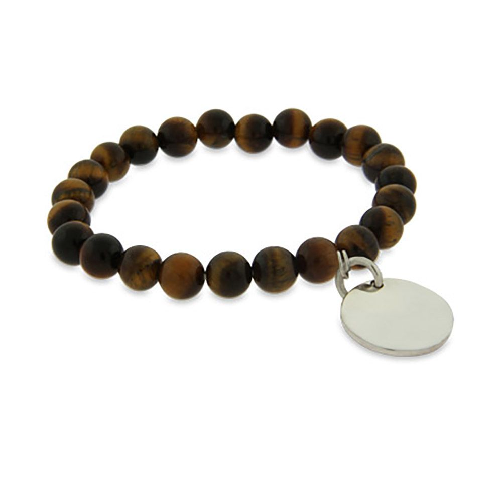 The Genuine Tigers Eye Power Bead Bracelet offers round tigers eye beads with an engravable round charm. Measures 7.5 inches long & is stretchable.