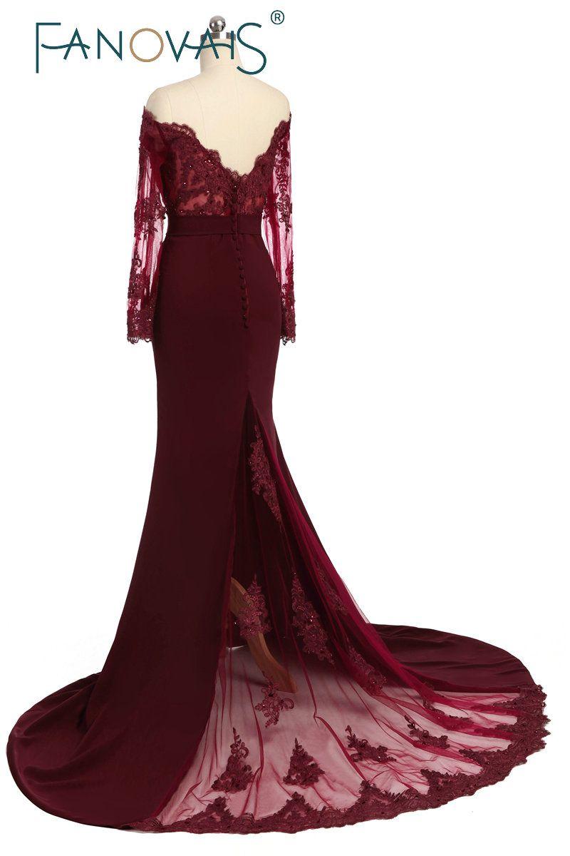 Wedding Party Dress Burgundy Bridesmaid Dress vestidos largos Satin Long  Lace Beaded Mermaid Bridesmaid Dress With 5ca7b86b184b
