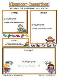 all kinds of classroom newsletter templates editable free