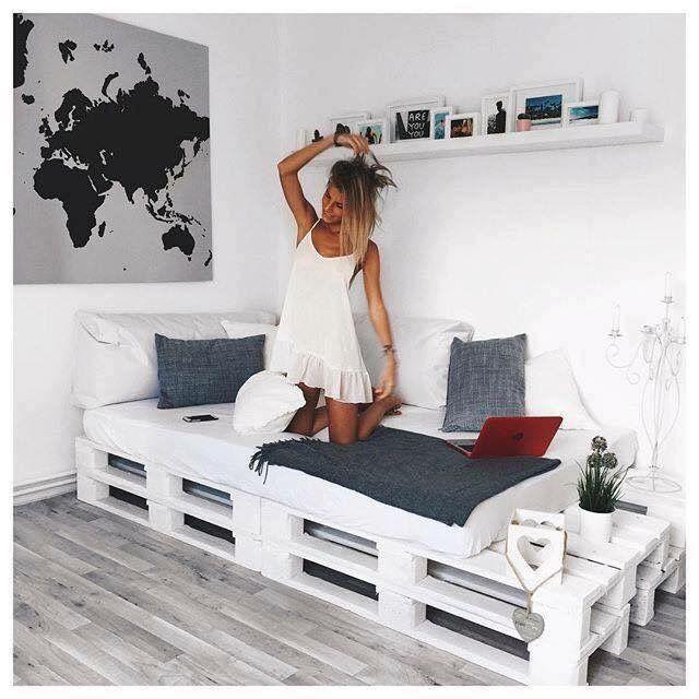 Idea para cama o sill n con palets carlos pinterest for Sillones fabricados con palets