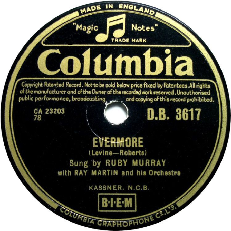 78 RPM - Ruby Murray - Evermore / Bambino - Columbia - UK - D.B. 3617