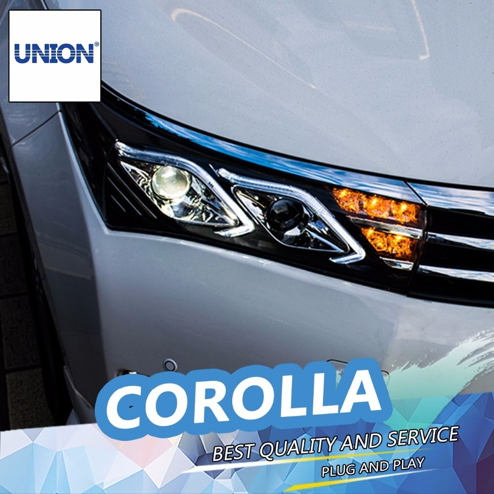 Union Car Styling For 2014 2015 New Corolla Headlight Altis Led Headlight Drl Lens Double Beam H7 Hid Xenon Car Accessories New Corolla Led Headlights Car