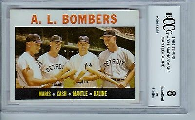 A.L. BOMBERS (MANTLE) 1964 TOPPS #331 BECKETT GRADED 8  (BCCG)  DEAD CENTERED