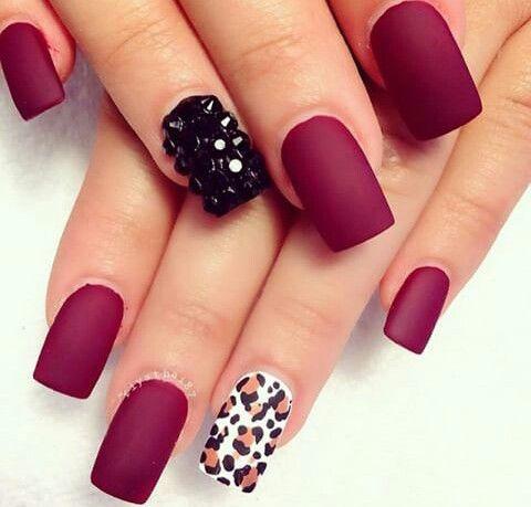 Matte Maroon Nails Cheetah Print Nail Art Black Rhinestone Color