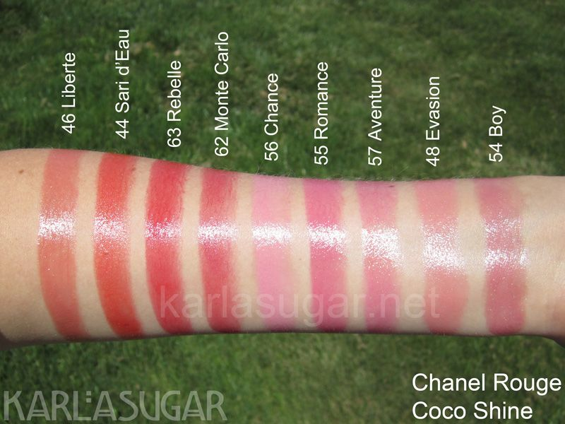 Chanel Rouge Coco Shine Swatches Liberte Sari Deau Rebelle