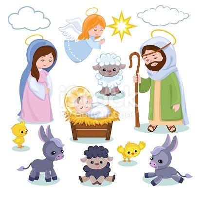 Set Of Christmas Scene Elements Cartoon Nativity Holy Family Clipart De Natal Native Cena De Natal