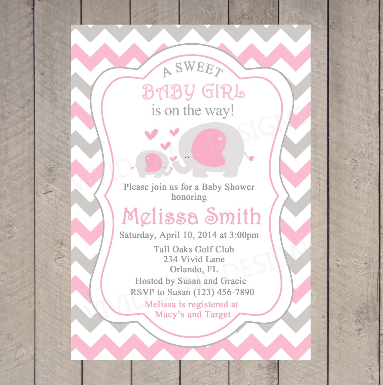 Elephants Baby Shower Invitation Printable by VividLaneDesigns ...