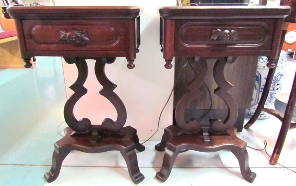 Davis Cabinet Co Lillian Russell Pair Of Lyre Bedside Tables Nashville Tn Booth 261 270 598 9901 Open Til 8 Pm Table Bedside Table Furniture