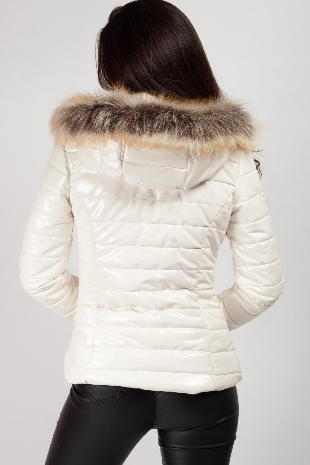 Wet Look Puffer Coat With Faux Fur Hood in 2020 Faux fur