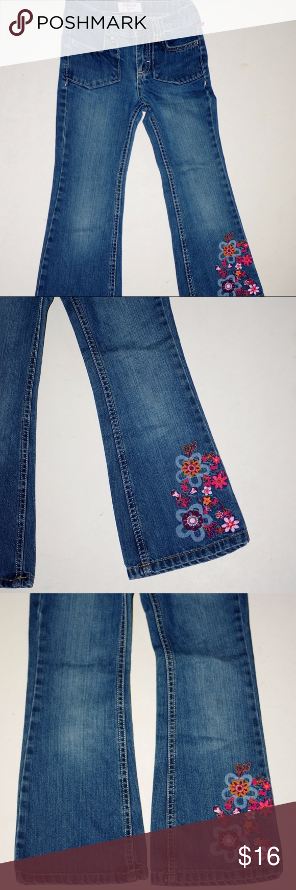 """Unworn OshKosh B'Gosh Girls Embroidered Blue Jeans By OshKosh B'Gosh Girls Tag Size 6 Unworn but freshly laundered (so should not shrink) Flower Power Embroidered leg Super cute True fit waist with hidden elastic adjustable band to get extended wear Waist measured flat across (with elastic at relaxed position)  10"""" Inseam: 19.25"""" Leg opening measured flat across: 7"""" Front rise measured from crotch seam to waistline: 7"""" OshKosh B'gosh Bottoms Jeans"""