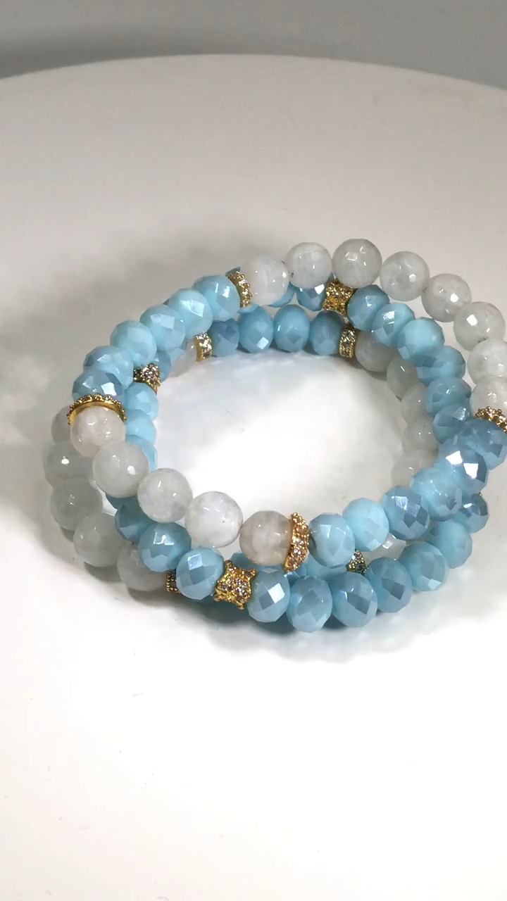 Moonstone and Blue Crystal Boho Bracelet Set of 3