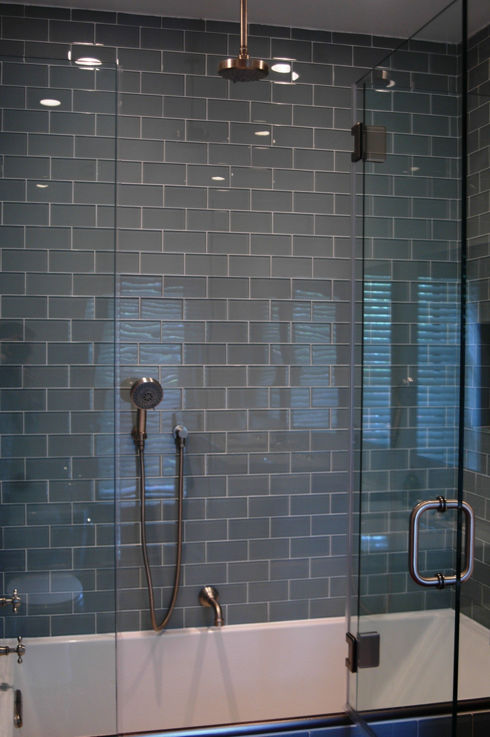 Lush Fog Bank 3x6 Gray Subway Tile Shower Wall Installation. Tile by ...
