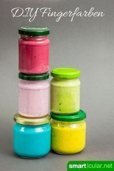 Natürliche Fingerfarben für Kinder preiswert selber machen