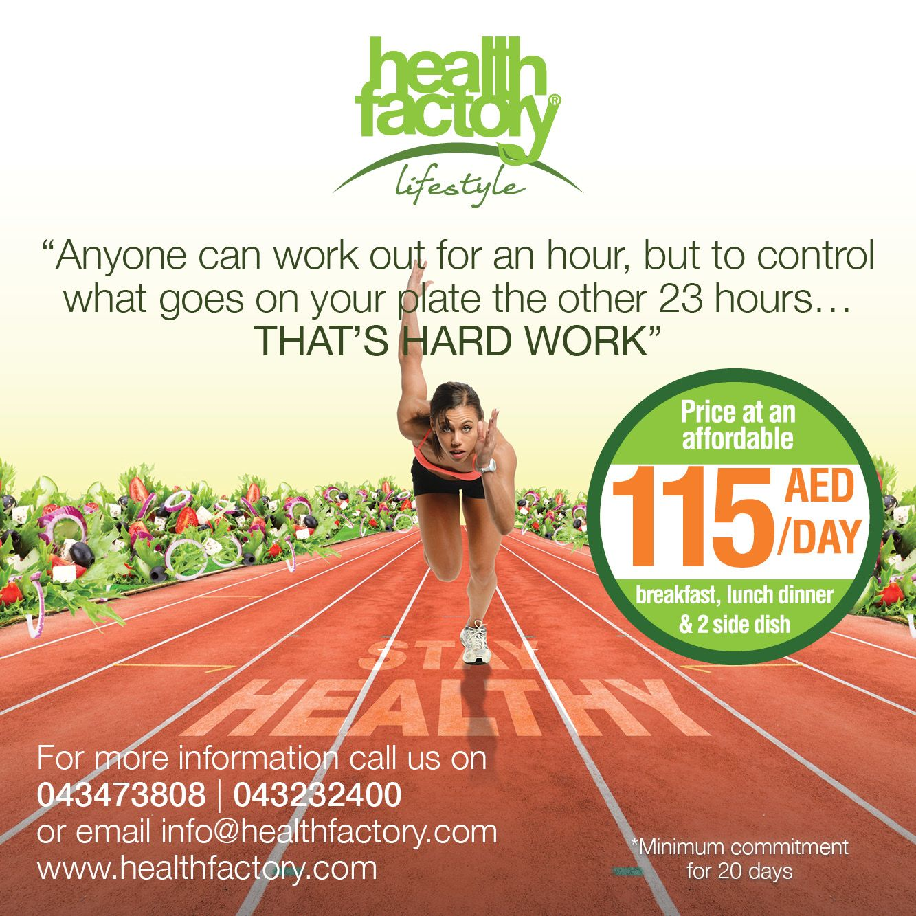 Introducing your ultimate #fitness partner! The 'Health Factory Lifestyle' plan, which will assist you in making all the #healthy #food choices your body requires. Packed with the right amount of #vitamins, minerals and pure goodness to ensure a healthy and balanced life.  Price at an affordable AED 115/day for #Breakfast, #Lunch, #Dinner and 2 x Side-Dish.   Sign up with 'Health Factory Lifestyle' and SIT BACK | ENJOY | LIVE HEALTHY!  For  more information: Web: http://goo.gl/h1NZNm