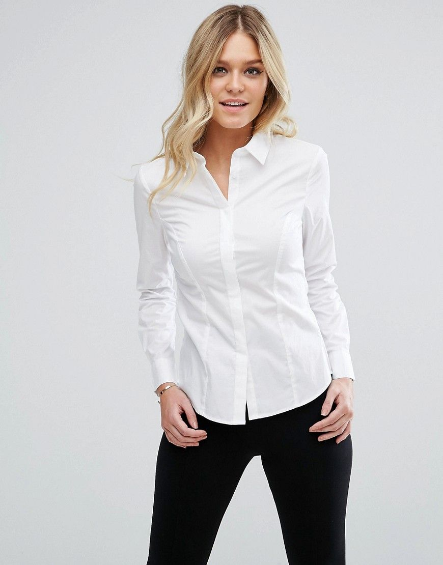 37c4f9c684f15a DESIGN fuller bust long sleeve long sleeve shirt in stretch cotton ...