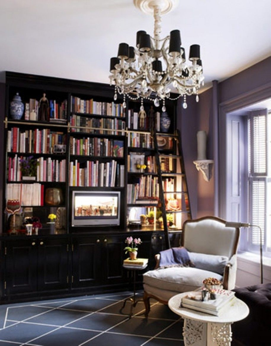 Home Library Room: Antique Custom Home With Modern Custom Home Library Design
