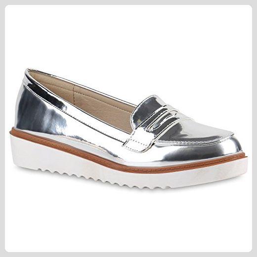 newest e0c77 26149 Damen Loafers Lack Slipper Profil Sohle College Schuhe ...