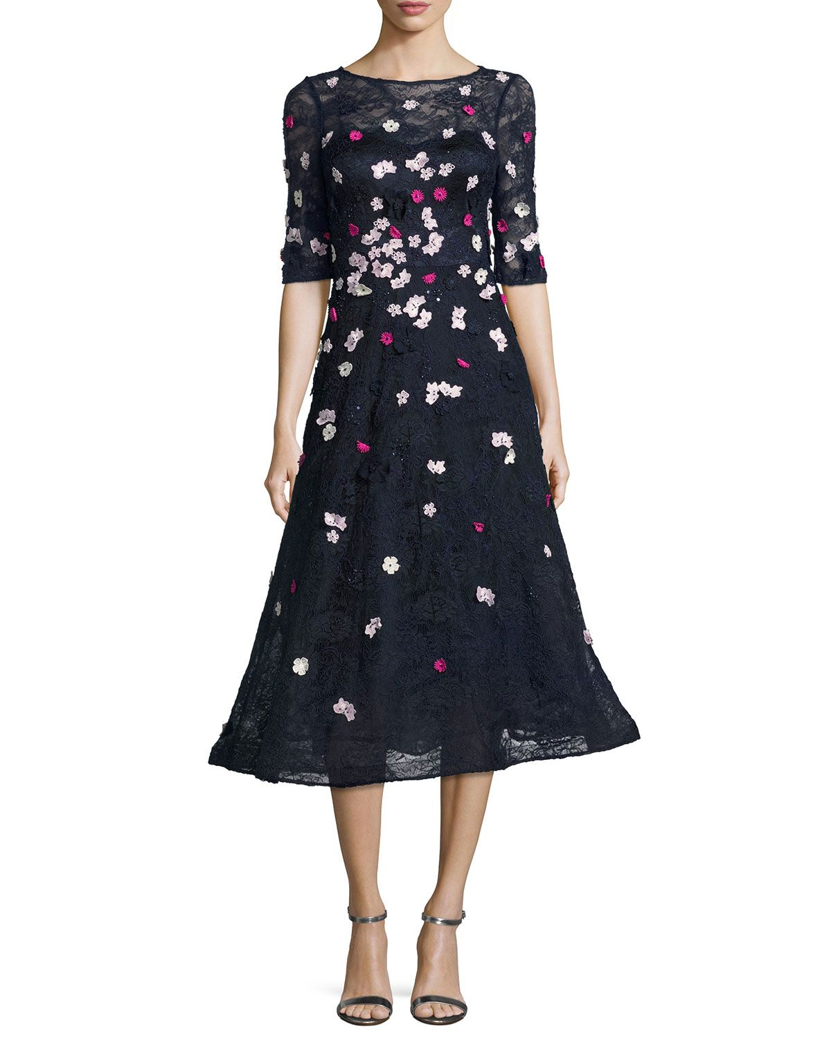 Rickie Freeman for Teri Jon 3D Floral Lace Fit- -Flare Cocktail Dress a4936d5eb
