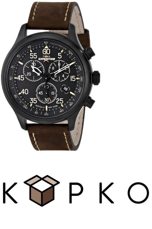 ab820dc278e Mens 64518  Timex Men S T49905 Expedition Rugged Field Chronograph Black  Brown Leather Watch -  BUY IT NOW ONLY   44.99 on eBay!