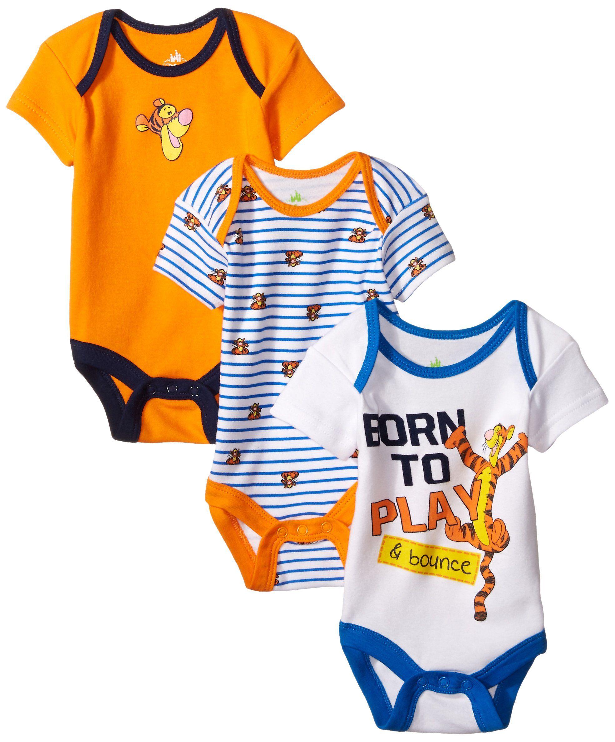 Amazon Com Disney Baby Baby Boys Newborn Tigger 3 Pack Bodysuit Clothing Novorozhdennye Rebenok Malyshi
